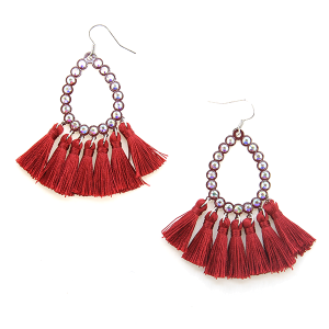 Earring 638a 18 Treasure rhinestone tear drop hoop tassel earrings burgundy
