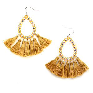 Earring 320b 18 Treasure rhinestone tear drop hoop tassel earrings mustard