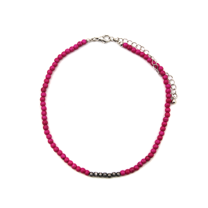 Necklace 732c 18 Treasure stone bead choker pink