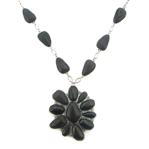 Necklace 1602 18 Treasure floral stone link large pendant necklace black