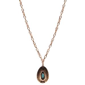 Necklace 1150c 18 Treasure Navajo tear drop pendant copper turquoise