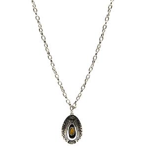 Necklace 1073b 18 Treasure Navajo tear drop pendant mustard yellow