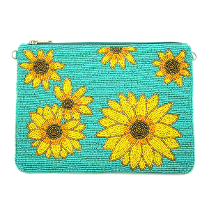 Seed Bead Sunflower Clutch turquoise