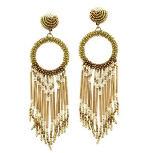 Earring 1347g 18 Treasure hoop seed bead fringe gold