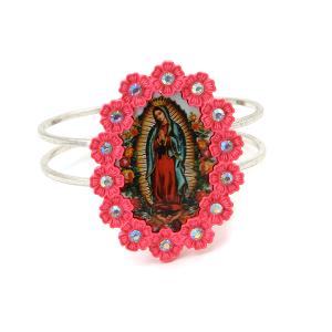 Bracelet 378a 18 Treasure virgin mary cuff pink