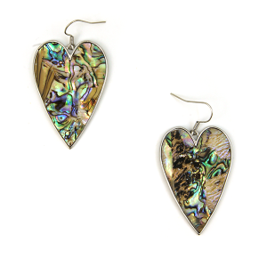 Earring 2258d 18 Treasure abalone heart earrings silver