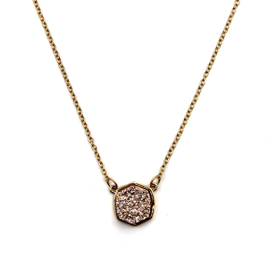Necklace 1742 18 Treasure raw druzy necklace hex rose gold