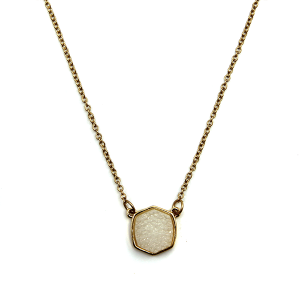 Necklace 1747 18 Treasure raw druzy necklace hex white