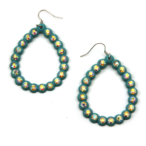 Earring 1331g 18 Treasure tear drop rhinestone hoop earrings turquoise
