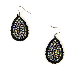 Earring 589f 18 Treasure tear drop rhinestone earrings black