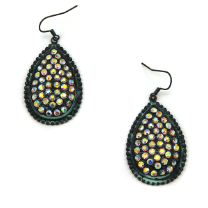 Earring 2246g 18 Treasure tear drop rhinestone earrings patina
