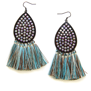 Earring 103 18 Treasure tear drop tassel earrings patina
