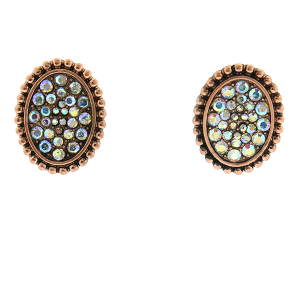 Earring 754c 18 Treasure oval rhinestone stud earrings copper