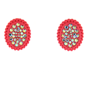 Earring 1900a 18 Treasure oval rhinestone stud earrings pink