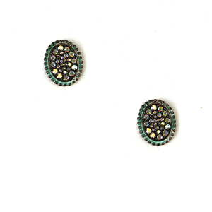 Earring 2290 18 Treasure oval stud rhinestone earrings patina