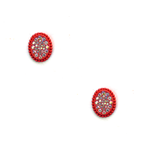 Earring 638c 18 Treasure oval stud rhinestone earrings red