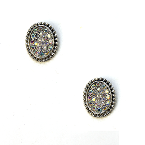 Earring 646i 18 Treasure rhinestone earrings stud silver ab