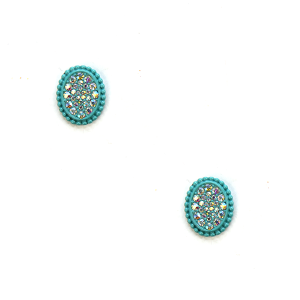 Earring 639c 18 Treasure oval stud rhinestone earrings turquoise