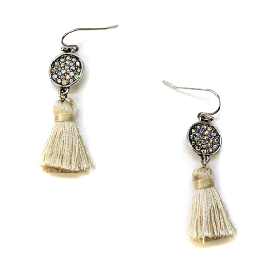 Earring 451c 18 Treasure rhinestone earrings tassel ivory