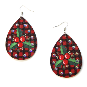 Christmas Earrings 035 wood rhinestone mistletoe earrings plaid red
