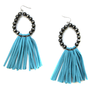 Earring 679b 18 Treasure tear drop bead earrings tassel turquoise
