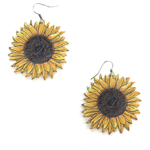 Earring 783 18 Treasure sunflower earrings leather