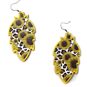 Earring 777j 18 Treasure leopard sunflower earrings