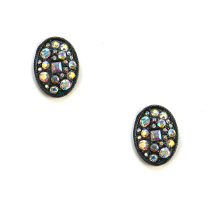 Earring 295i 18 Treasure stud rhinestone earrings oval patina