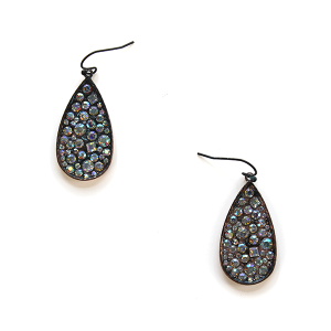 Earring 1210i 18 Treasure tear drop rhinestone earrings patina