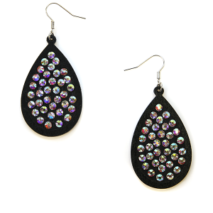 Earring 1427a 18 Treasure tear drop wood rhinestone earrings black
