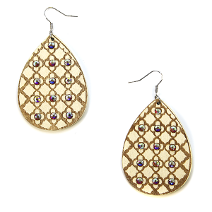 Earring 2860b 18 Treasure tear drop rhinestone earrings wood pattern ivory