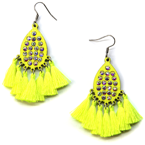 Earring 2490b 18 Treasure tear drop rhinestone earrings wood tassel neon yellow