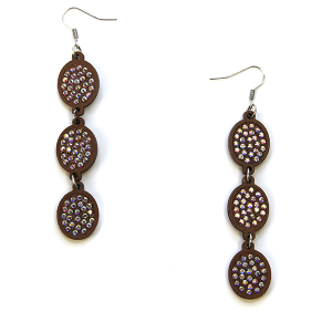 Earring 2842g 18 Treasure wooden rhinestone earrings dangle drop brown
