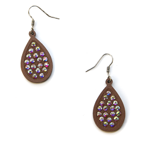 Earring 2512b 18 Treasure tear drop rhinestone earrings wood brown