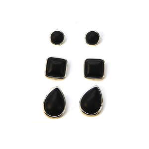 Earring 2520c 18 Treasure 3 set navajo earrings black