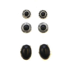 Earring 2274b 18 Treasure 3 set navajo earrings black