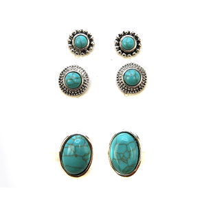 Earring 2273c 18 Treasure 3 set navajo earrings turquoise