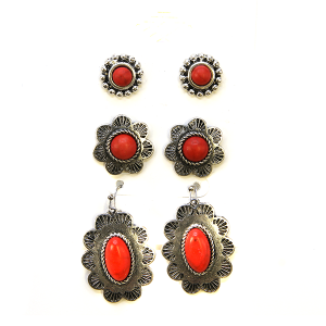 Earring 2290a 18 Treasure 3 set navajo earrings red