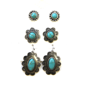Earring 2305a 18 Treasure 3 set navajo earrings turquoise