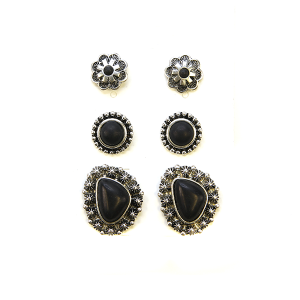 Earring 2311a 18 Treasure 3 set navajo earrings black