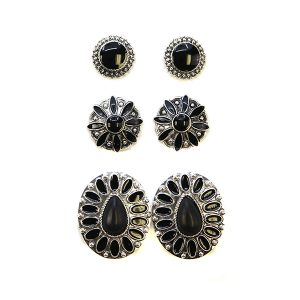 Earring 2357d 18 Treasure 3 set navajo earrings black