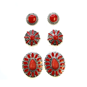Earring 2354d 18 Treasure 3 set navajo earrings red