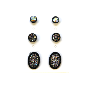 Earring 2364b 18 Treasure 3 set stud earrings rhinestone black ab