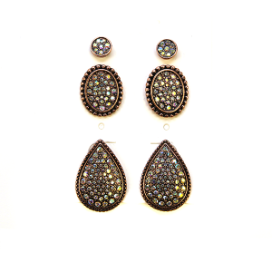 Earring 2378e 18 Treasure 3 set stud earrings rhinestone copper