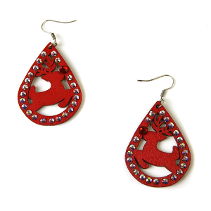Christmas Earrings 044 wood rhinestone rudloph earrings red