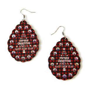 Christmas Earrings 020 wood rhinestone red plaid we wish you a merry christmas and a happy new year
