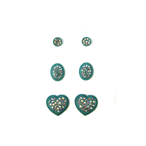 Earring 504a 18 Treasure 3 set rhinestone earrings heart turquoise