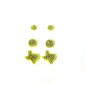 Earring 473a 18 Treasure 3 set stud rhinestone earrings texas neon yellow
