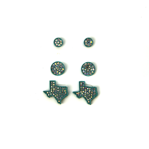 Earring 465a 18 Treasure 3 set stud rhinestone earrings texas turquoise