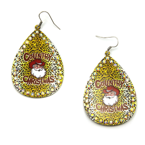 Christmas Earring 335 18 Treasure Country Christmas Santa Earrings leopard mustard